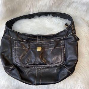Vintage Black Leather Coach Hobo Legacy Handbag